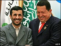 Mahmoud Ahmadinejad (L) with Hugo Chavez