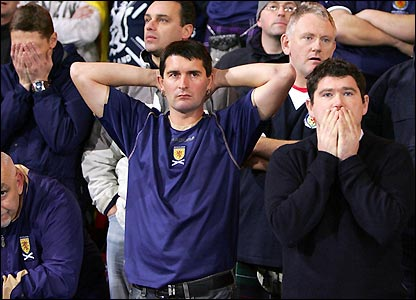 Scotland fans show their disappointment