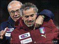 Roberto Donadoni celebrates Italy's victory at Hampden