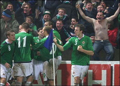 Northern Ireland celebrate David Healy's winner
