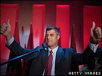 Hashim Thaci claims victory in Kosovo's general election