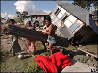 Damaged houses at Potuakhali, Bangladesh - 17/11/2007