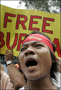 Anti-military activists protest outside the Burmese embassy in Bangkok on 18 November