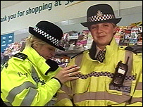 cardboard cop (right) with Pc Anna Gaskill