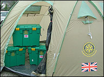 ShelterBox tent and boxes
