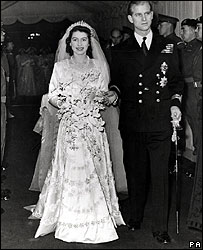 Princess Elizabeth and Prince Philip on their wedding day