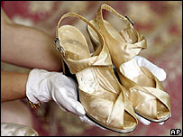 Princess Elizabeth wore satin shoes trimmed with silver and seed pearl