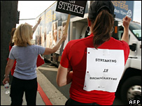 Writers striking outside NBC in Burbank, California