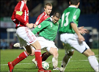 Striker Healy scores the winner against Denmark in Belfast