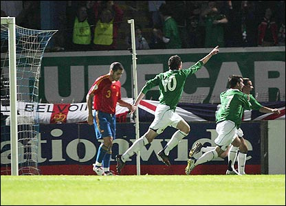 Healy's first goal in the Euro 2008 qualifiers came against Spain