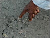 Tiger foot print in Joymonir Ghol