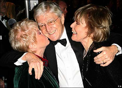 Michael Parkinson (centre) with Gloria Hunniford and his wife Mary