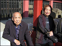 Mr and Mrs Momonoki at the Asakusa Kannon shrine in Tokyo