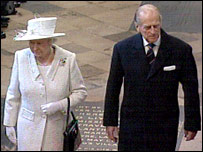 The Queen and Prince Philip at the Westminster Abbey service