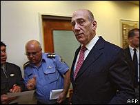 Ehud Olmert attends cabinet