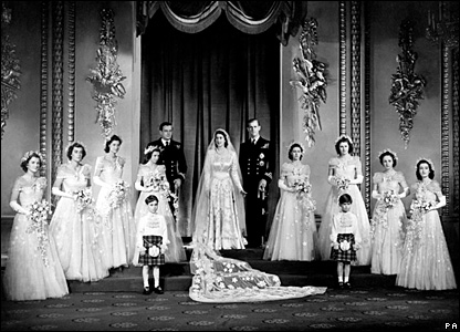 The royal couple with their bridesmaids and page boys