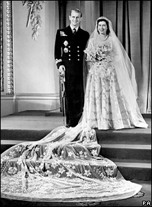 Princess Elizabeth and Lieutenant Philip Mountbatten on their wedding day
