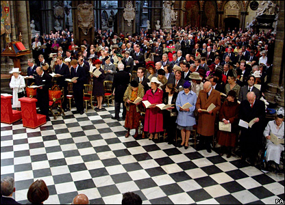 The congregation at the Queen and Prince Philip's diamond wedding ceremony