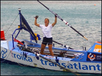 Debra Searle finishes her Atlantic Row. Picture: Debra Searle