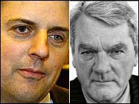 Nick Griffin (L) and David Irving (R)