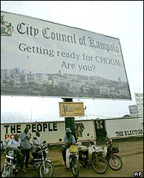 Poster advertising Chogm in Kampala