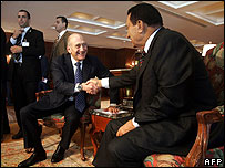 Ehud Olmert and Hosni Mubarak