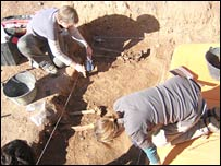 Volunteers try to locate a mass grave in Illueca, north-western Spain