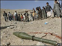 A rocket lies on the ground in Afghanistan