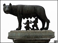 A statue showing the she-wolf suckling Romulus and Remus