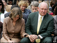 Mary and Sonny Perdue during a prayer for rain in Georgia