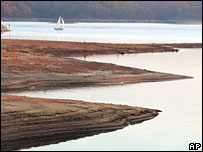 Mud exposed by Lake Lanier's shrinking waters