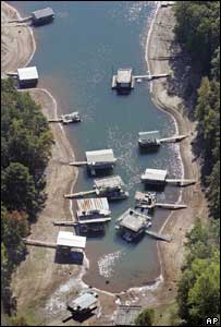 Boat docks left stranded by the receding waters of Lake Lanier