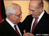 Mahmoud Abbas y Ehud Olmert en su última entrevista antes de Annapolis