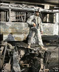 US soldier at the scene of a car bomb in northern Baghdad, Oct 2007