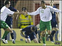 Richie Byrne (right) celebrates his goal for Republic of Ireland B