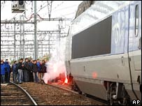 Railway workers block a TGV train in Toulouse. File photo