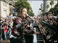 Alicia Keys performing at Tuesday's rally
