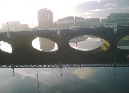 Tony McGleenan captured this image of the Albert Bridge in Belfast during rush hour on his mobile phone.