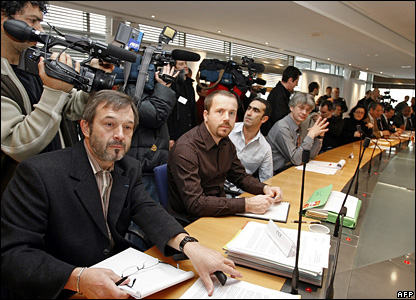 Gerard Leboeuf (left), the general secretary of the CGT union for the state metro operator, RATP, and his deputy, Jacques Eliez (second left), attend a meeting with government representatives in Paris