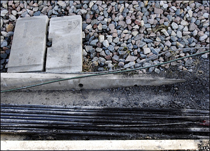 Fire-damaged cables on the high-speed TGV line near Varredes, in eastern Paris