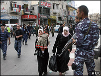 Palestinian security forces in Nablus