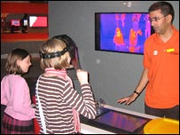 Children looking at thermal images of themselves