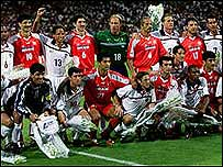 Iran and US footballers before their match at the World Cup 1998