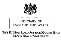 Letter from Lord Justice Moore-Bick
