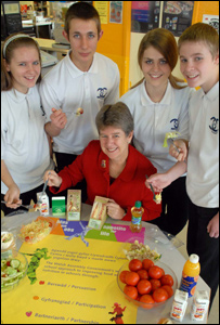 Education Minister, Jane Hutt meets pupils at Michaelston Community College, Cardiff