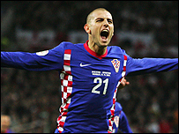 Mladen Petric celebrates his winner for Croatia