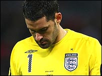 Scott Carson is distraught after his early howler at Wembley