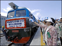 North Korean train arrives in the South during a trial run in May 2007