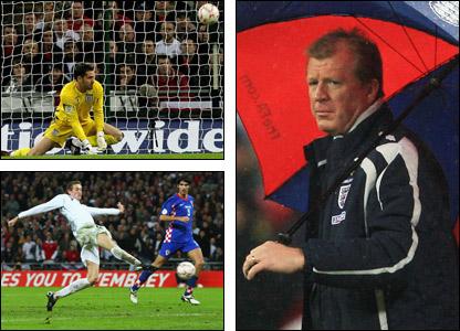 Scott Carson spills Nico Kranjcar's shot (top left), Peter Crouch scores the England's equaliser (bottom left), England manager Steve McClaren (right)