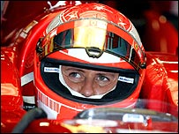 Michael Schumacher at his Ferrari test earlier this month